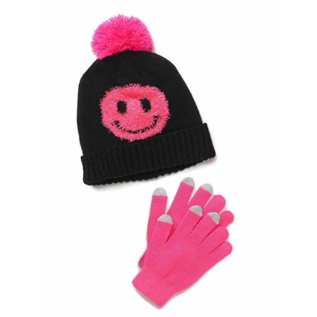 Hot Pink Gloves (SO Girls Black and Hot Pink Smiley Face Knit Beanie & Texting)