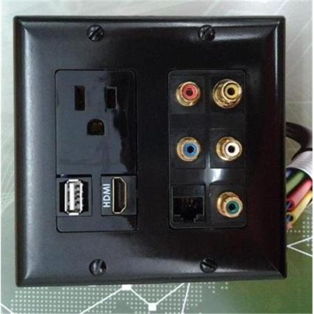 Video Combo Faceplate - CERTICABLE CUSTOM MADE DOUBLE GANG WALL PLATE IN BLACK - 110V POWER OUTLET + HDMI + USB + CAT5E RJ45 + 5 RCA AUDIO/VIDEO FACEPLATE