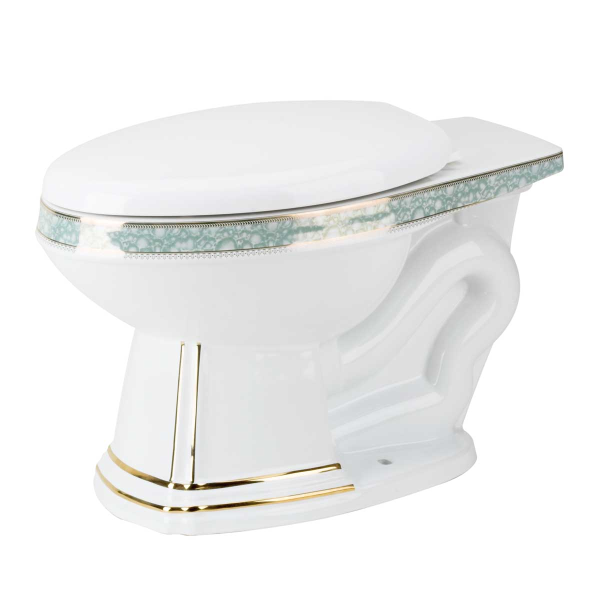 Toilet Part White/Gold/Blue Sheffield Deluxe Bowl Only | Renovator's Supply