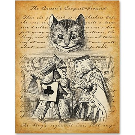 Alice in Wonderland - The Queen of Hearts and Cheshire Cat - 11x14 Unframed Alice in Wonderland Print](Queen Of Hearts On Alice In Wonderland)