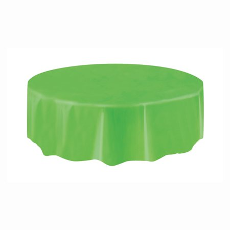 Lime Green Plastic Party Tablecloth, Round, 84in