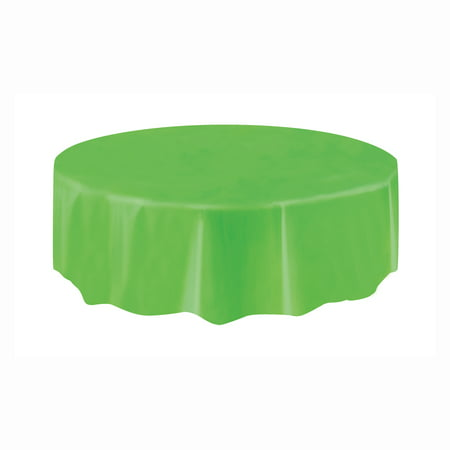 Lime Green Plastic Party Tablecloth, Round, 84in - Plastic Tablecloths Cheap
