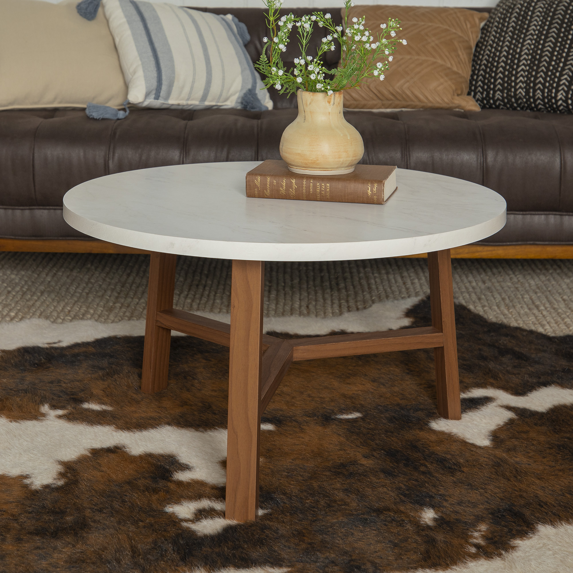 Manor Park Mid-Century Modern Round Coffee Table - White Marble and Acorn - Walmart.com ...