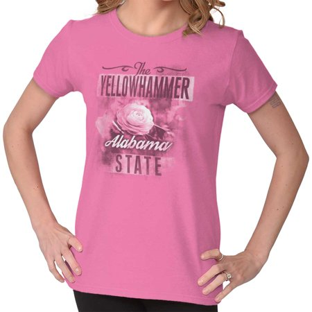 Brisco Brands Alabama Camellia State Flower Adult Tee Shirt For Ladies