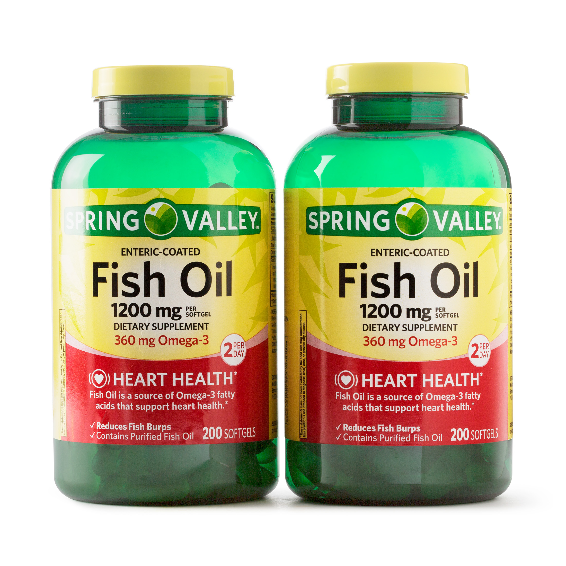 Spring Valley Enteric-Coated Fish Oil Omega-3 Supplement, 1200mg, 400 Softgel Twin