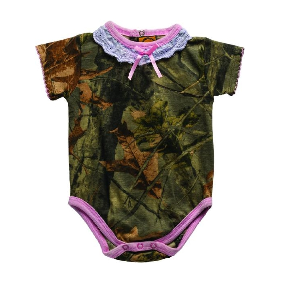 Highland Timber Camo with Pink Accents Baby Girls Bodysuit 6 to 12 Months