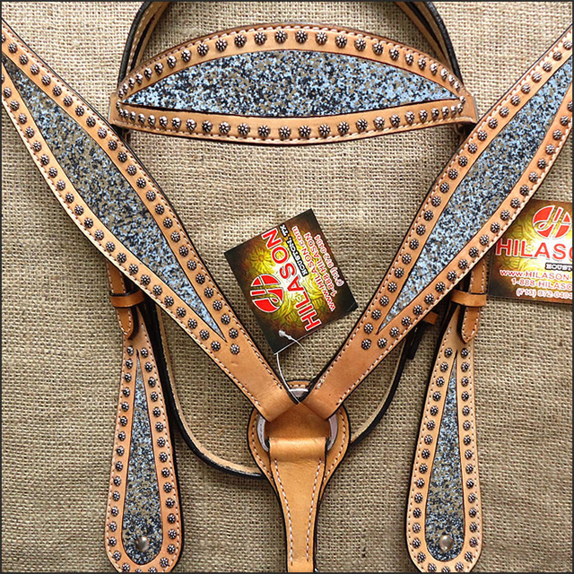 Hilason WESTERN LEATHER HORSE HEADSTALL BRIDLE BREAST COL...