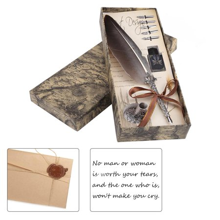 Yosoo English Calligraphy Feather Dip Quill Pen Writing Ink Set Stationery Gift Box with 5 Nibs, quill pen, feather dip pen ()