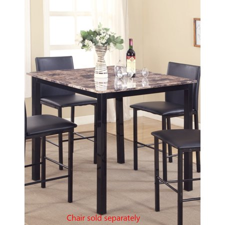 Roundhill Citico Metal Counter Height Dining Table with Laminated Faux Marble Top, Black