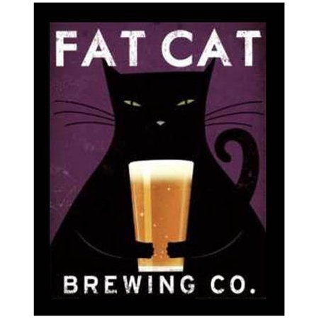 Art For Less Fat Cat Brewing Company By Ryan Fowler Framed Vintage Adver
