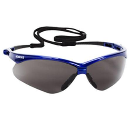 Jackson Safety V30 47387 Nemesis Safety Glasses (3 Pair) (Metallic Blue Frame with Smoke Anti-Fog