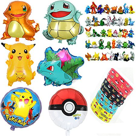 Pokemon Theme Party Supplies Bundle Favor Pack-24 Action Figures, 12 Pokemon Bracelets And 5 Party Balloons. Great Value! (80s Party Themes)