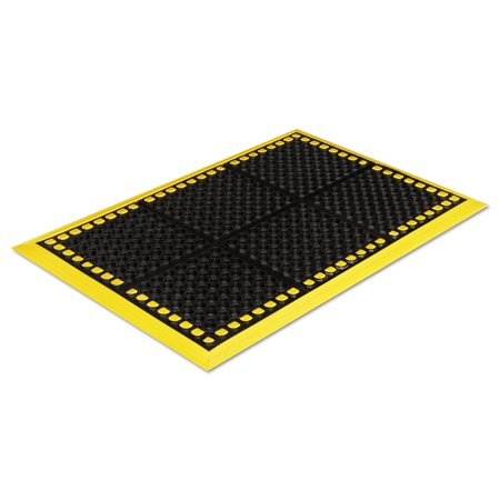 Crown Safewalk Workstations Anti-Fatigue Drainage Mat, 40 x 124, Black/Yellow -CWNWS4E24YE](Crown Station)