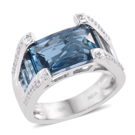 925 Sterling Silver Platinum Plated Baguette Blue Topaz Zircon Octagon Shaped Ring for Mens Size -