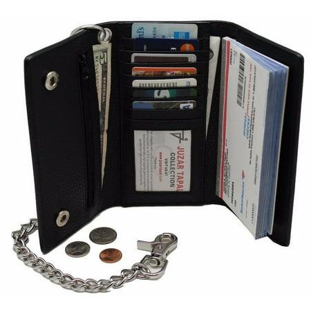 biker's 312 black long checkbook trifold steel chain wallet zip pocket trucker (Steel Wallet)