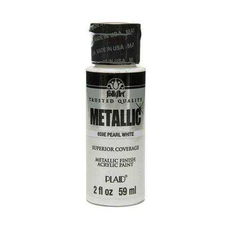 Folkart Metallic Finish Acrylic Paint Colors By Plaid Pearl White 2 Oz