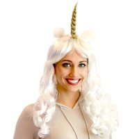 Deluxe Unicorn Costume Wig With Ears Adult: White/Prince One Size Fits Most