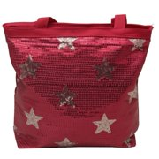 Girls Fuchsia Silver Sequin Star Accented Dance Tote Bag