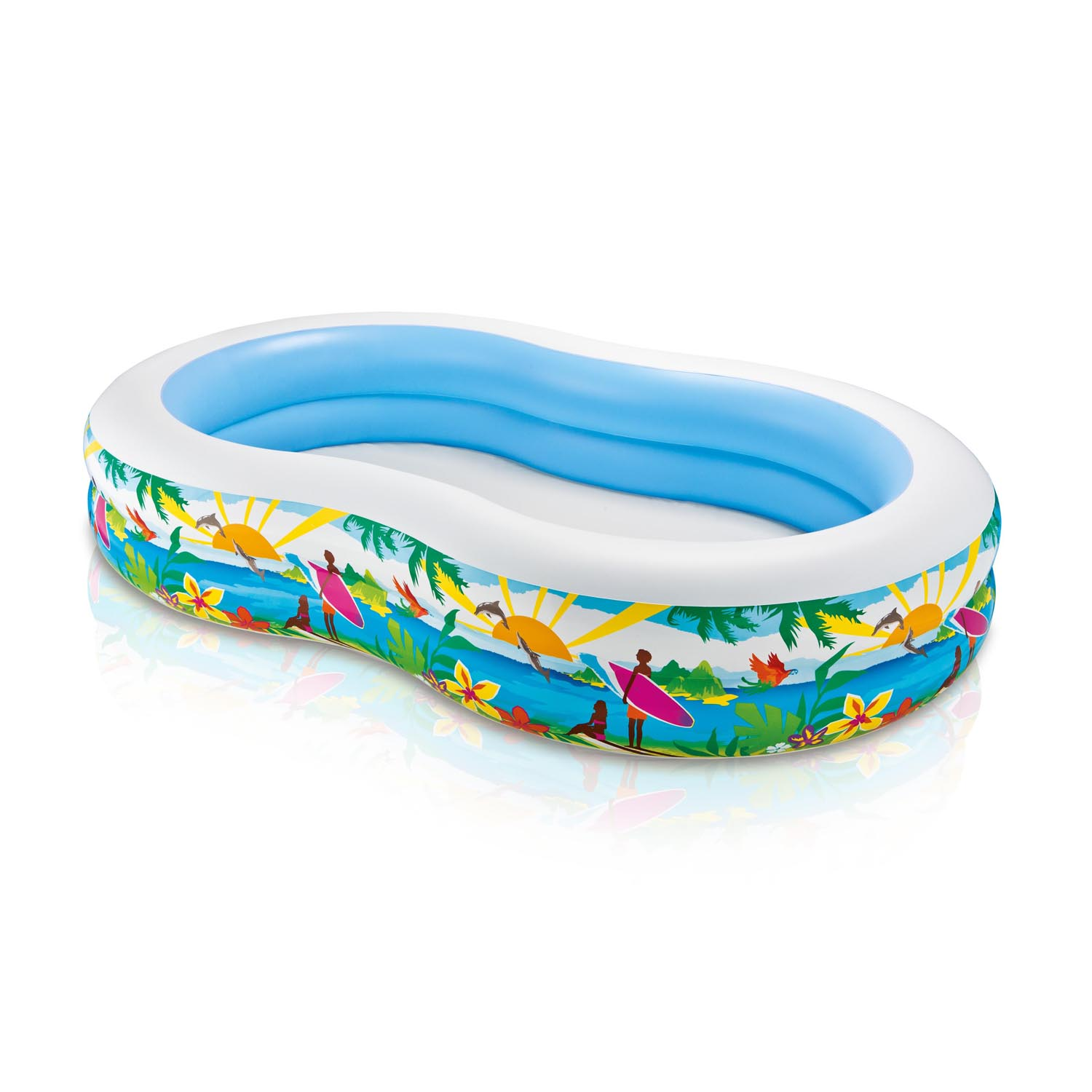 Intex 8.6' x 5.25' x 1.2' Paradise Lagoon Inflatable Kiddie Swimming Pool