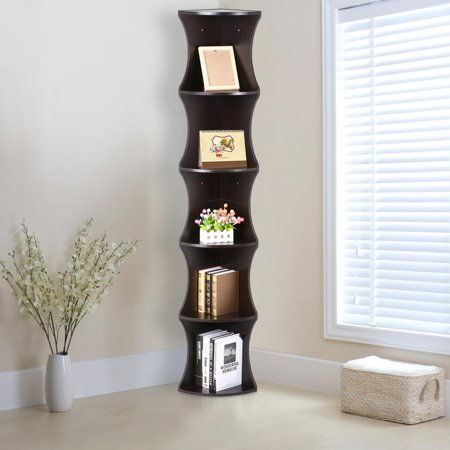 Yaheetech 5 Tier Brown Round Wall Corner Shelf Stand Storage Skinny Display Bookshelf Rack Casual Home