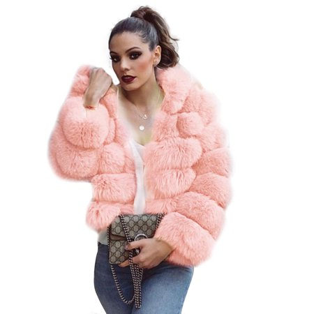 New Womens Thick Faux Fur Big Hooded Parka Overcat Peacoat Winter Coats Jackets - Pink Ladies Grease Jacket