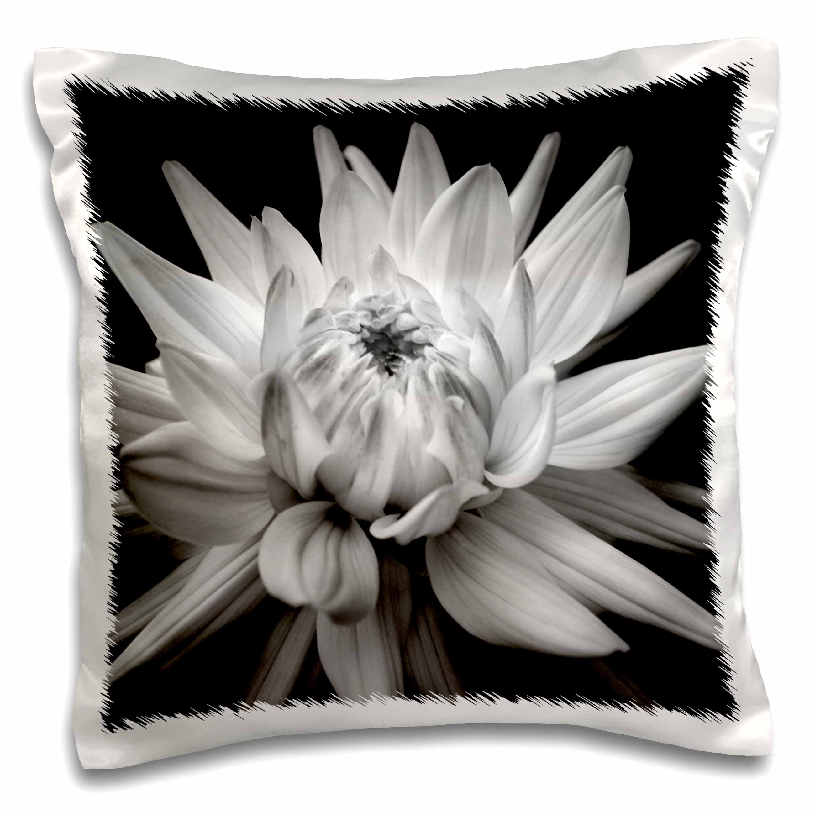3dRose Monochrome Dahlia Corona Flower, Pillow Case, 16 by 16-inch