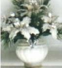 Dollhouse White Poinsettias-Large Pot 2 3/8