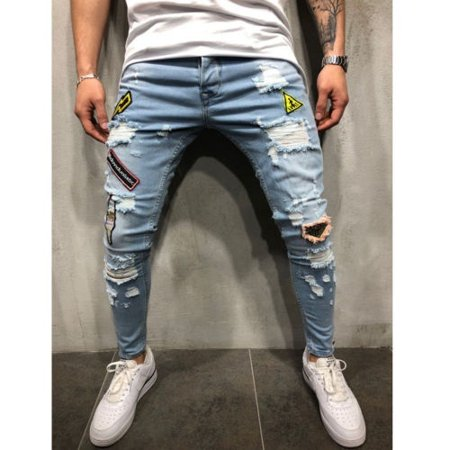 Fashion Men´s Distressed Ripped Jeans Blue Denim Pants Slim Skinny Fit Trousers Hot Sale