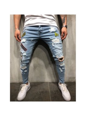 7ac5e37ef28 Product Image Fashion Men´s Distressed Ripped Jeans Blue Denim Pants Slim  Skinny Fit Trousers Hot Sale