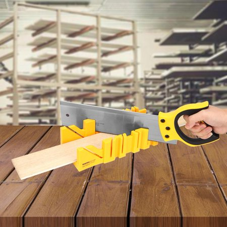 Ccdes 12 inch ABS Plastic Multiple Angle Clamping Mitre Box with 14 inch Back Saw ,Clamping Box Saw,Mitre Box Back