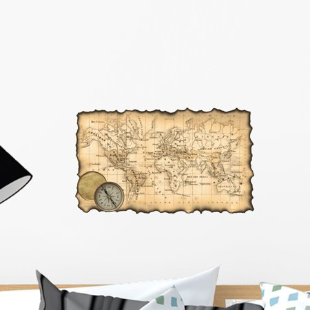 Ancient Map World Compass Wall Mural by Wallmonkeys Peel and Stick Graphic  (18 in W x 11 in H) WM309629
