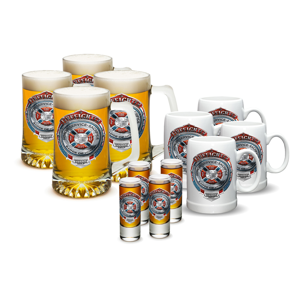 Erazor Bits American Firefighter Badge of Honor Shot Glas...