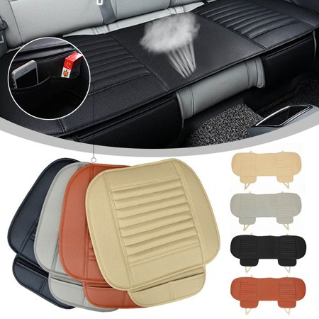 3 Pcs(1Rear+2Front) Car Universal Seat Cover Bamboo Breathable PU Leather Pad Chair Cushion US