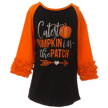 Toddler Girls Ruffle Sleeve Cutest Pumpkin Halloween T-Shirt Top Tee Kids Orange 2T XS (P317286P)
