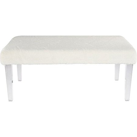 40 inch Faux Fur Bench in WHITE