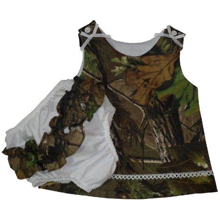 Mossy Oak Camo Baby Sleeveless Dress & Ruffled Panty Set 9 Month (Camouflage Ruffle)