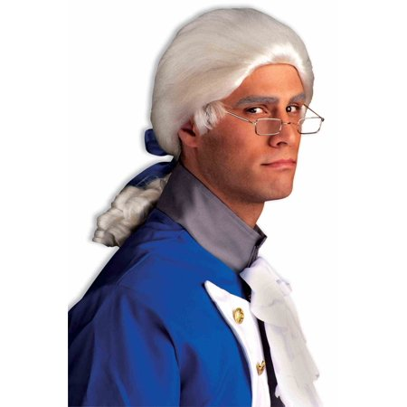 White Colonial Wig Unisex Barrister Franklin Men Historical Costume Accessory - image 1 de 1