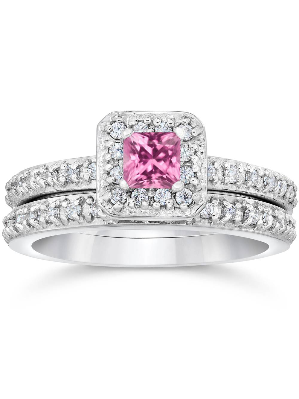 Princess Cut Pink Sapphire 1 1 3ct Pave Vintage Diamond Ring Set 14K White Gold by Pompeii3