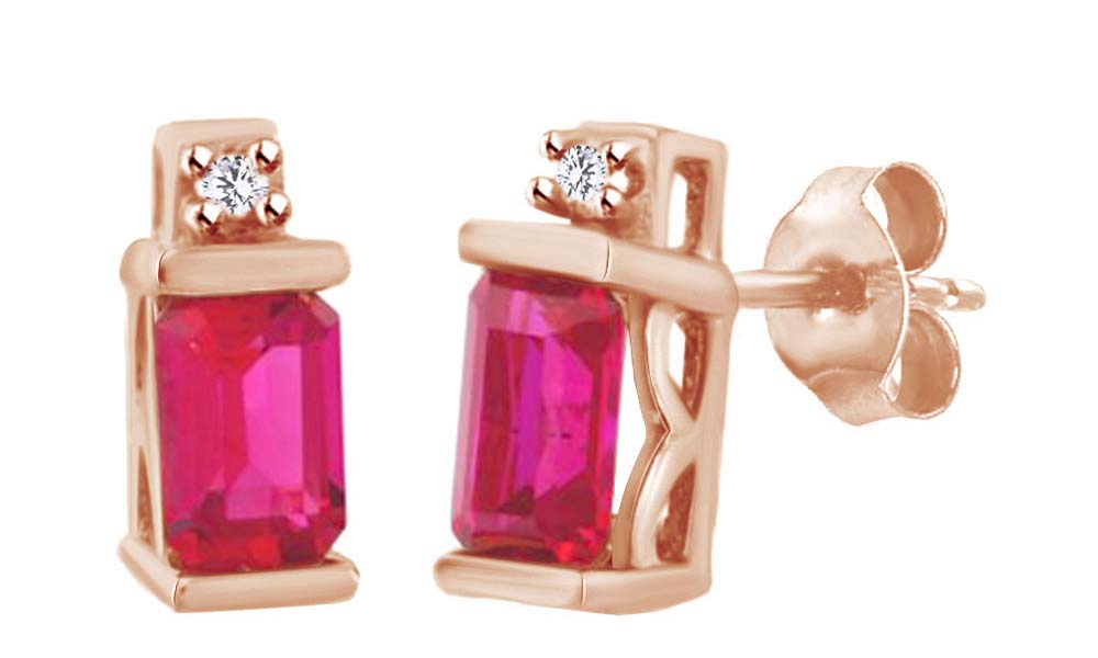 Emerald Cut Simulated Pink Ruby With White Diamond Solitaire Stud Earrings In 10K Solid Rose Gold by Jewel Zone US