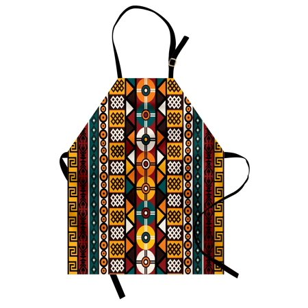 Kente Pattern Apron Vertical Borders Inspired by Primitive African Cultures Geometrical Design, Unisex Kitchen Bib Apron with Adjustable Neck for Cooking Baking Gardening, Multicolor, by Ambesonne