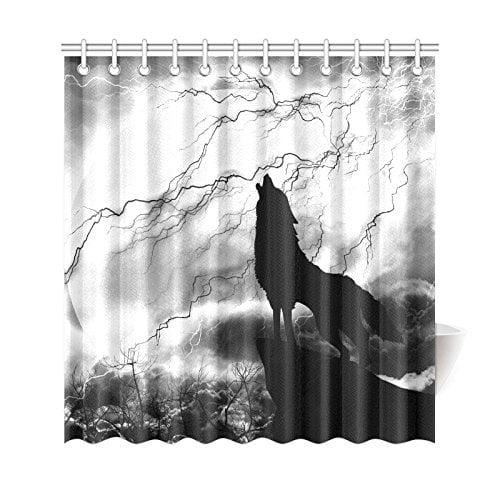 GCKG Black And White Gray Shower Curtain Wildlife Animal Howling
