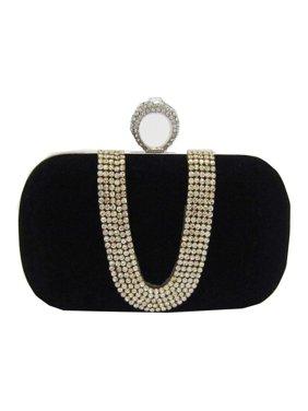 Product Image Chicastic Red Suede Velvet Rhinestone Stud One Ring Knuckle  Duster Evening Cocktail Clutch Bag e89f2bf6baa7