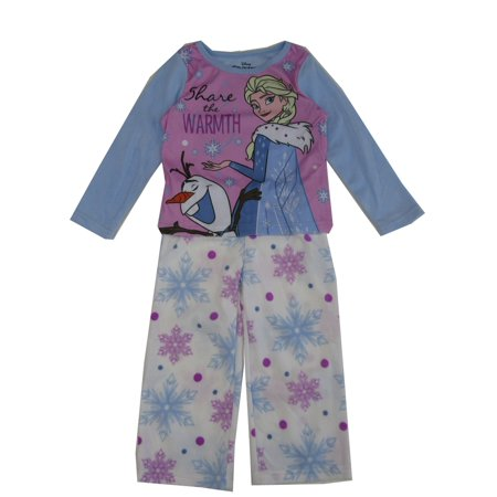 Disney Little Girls Blue White Frozen Elsa Olaf Print 2 Pc Pajamas Set - Kristoff Outfit Frozen