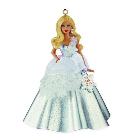 Hallmark Ornament 2013 Holiday Barbie by Carlton #1 - in Series with 25 Yr Snowflake (Ornament Year Charm)