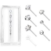 Body Accentz� 316L Surgical Steel Nose Stud Rings CZ  20g free retainer 7pc