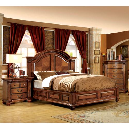 - Furniture of America Traditional Antique Tobacco Oak Panel Bed by FOA