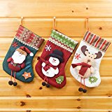 Festive Holiday Reindeer (Christmas Holiday Decoration Knit Christmas Stockings Santa Claus,Snowman and Reindeer 3PCS/Set )