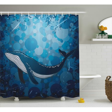 Whale Bathroom Accessories | Whale Shower Curtain Vintage Whale Poster Motif On Marine Grunge Backdrop Retro Ocean Graphic Fabric Bathroom Set With Hooks 69w X 70l Inches