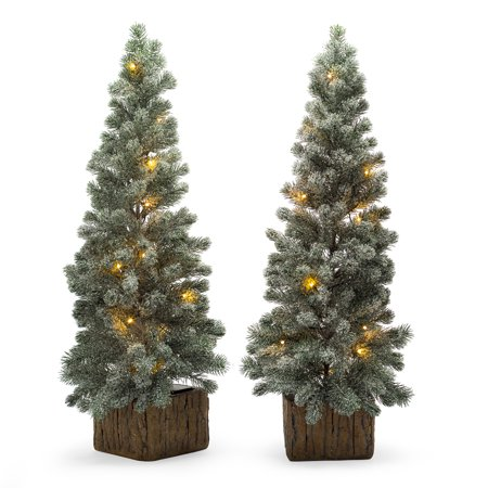 Belham Living 3ft Pre-Lit Flocked Door Step Artificial Christmas Trees with  Clear Lights - - Belham Living 3ft Pre-Lit Flocked Door Step Artificial Christmas