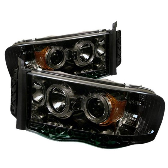 Spyder Dodge Ram 1500 02 05 2500 3500 03 Projector Headlights Led Halo Replaceable Leds Smoke High H1 Included Low I